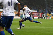 James Vaughan of Bury shoots and scores his teams 1st goal. EFL Skybet football league one match, Bury v Port Vale at Gigg Lane in Bury ,Lancs on Saturday 3rd September 2016.<br /> pic by Chris Stading, Andrew Orchard sports photography.
