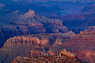 Evening light over the Grand Canyon, from the South Rim, Grand Canyon National Park, Arizona