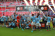 Man City players celebrating during the FA Community Shield match between Chelsea and Manchester City at Wembley Stadium, London, England on 5 August 2018.