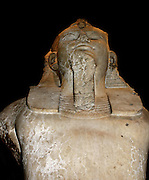 Upper part of a colossal statue of Amenhotep III. Eighteenth Dynasty, about 1370 BC from Thebes. This fine sculpture stood in the kings mortuary temple to the west of the Nile at Thebes. It was part of an extensive array of architectural sculpture  which adorned this temple.