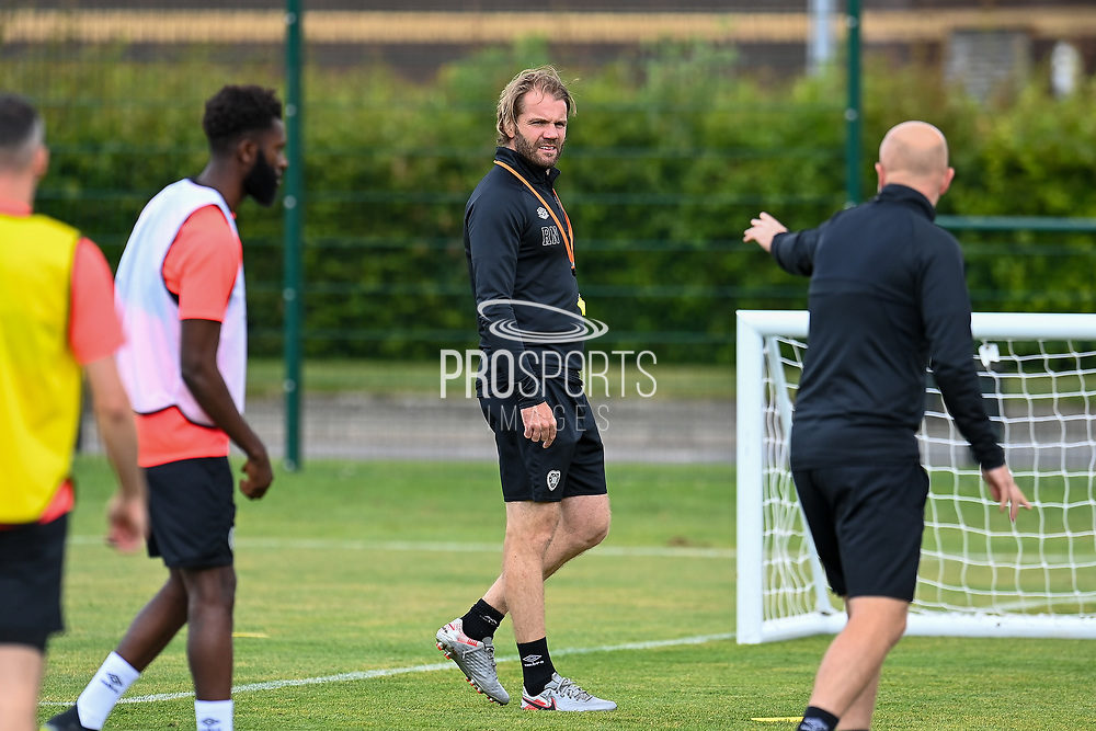 Heart of Midlothian manager Robbie Neilson during the training session and press conference for Heart of Midlothian FC at the Oriam Sports Performance Centre, Edinburgh, Scotland on 29 July 2021, ahead of the SPFL Premiership match against Celtic FC.