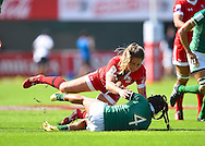 Canada player Ashley Steacy puts a hard tackle on Brazil's Amanda Araujo during the Emirates Dubai rugby sevens match between Canada and Brazil  at the Sevens Stadium, Al Ain Road, United Arab Emirates on 1 December 2016. Photo by Ian  Muir.*** during the Emirates Dubai rugby sevens match between *** and ***  at the Sevens Stadium, Al Ain Road, United Arab Emirates on 1 December 2016. Photo by Ian  Muir.