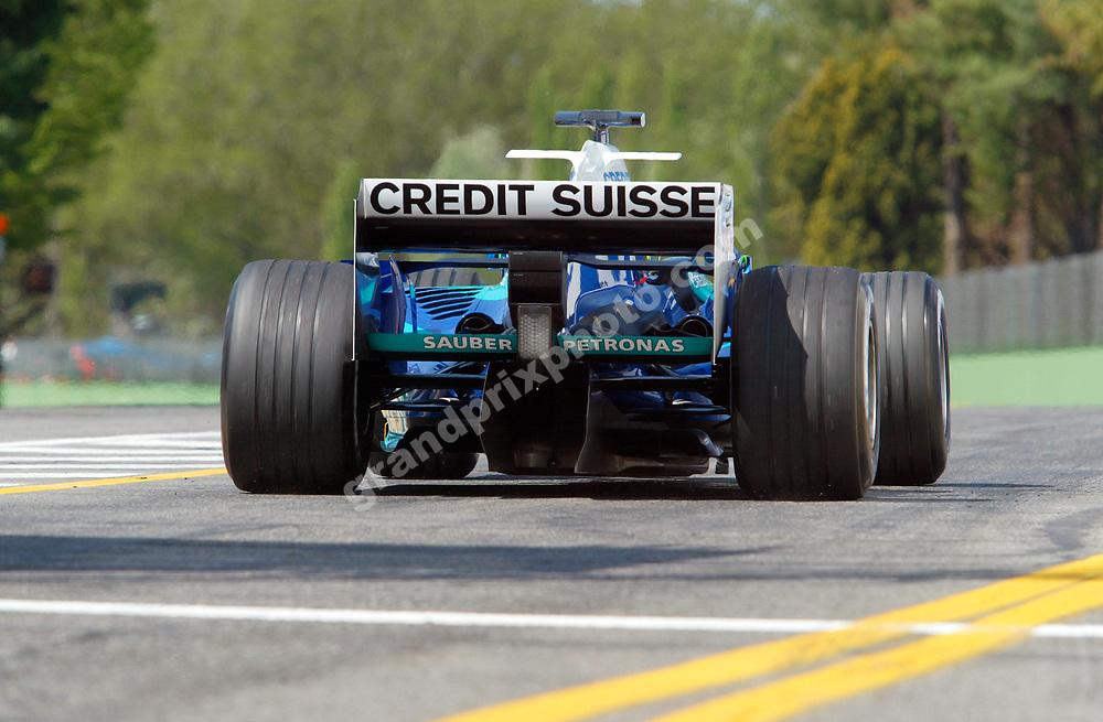 Felipe Massa (Sauber-Petronas) seen from behind in the 2005 San Marino Grand Prix at Imola. Photo: Grand Prix Photo