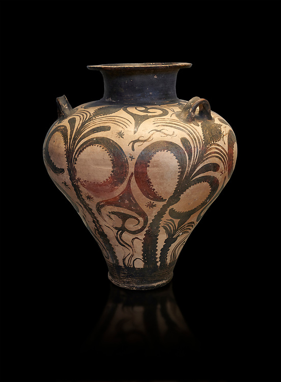 Three handled Palace Style  Mycenaean amphora with palm tree floral motifs, Mycenaean cemetery, Argive Deiras, 15 cnt BC, National Archaeological Museum Athens. Cat no 7107.  Black Background<br /> <br /> This Mycenaean vase is distinguished by the high quality of clay and paint as well as the naturalistic rendition of the palm tree decorations .<br /> <br /> If you prefer to buy from our ALAMY PHOTO LIBRARY  Collection visit : https://www.alamy.com/portfolio/paul-williams-funkystock/mycenaean-art-artefacts.html . Type -   Athens    - into the LOWER SEARCH WITHIN GALLERY box. Refine search by adding background colour, place, museum etc<br /> <br /> Visit our MYCENAEN ART PHOTO COLLECTIONS for more photos to download  as wall art prints https://funkystock.photoshelter.com/gallery-collection/Pictures-Images-of-Ancient-Mycenaean-Art-Artefacts-Archaeology-Sites/C0000xRC5WLQcbhQ