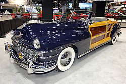 08  February 2013: 1947 Chrysler Town and Country convertible woody.  Chicago Auto Show, Chicago Automobile Trade Association (CATA), McCormick Place, Chicago Illinois