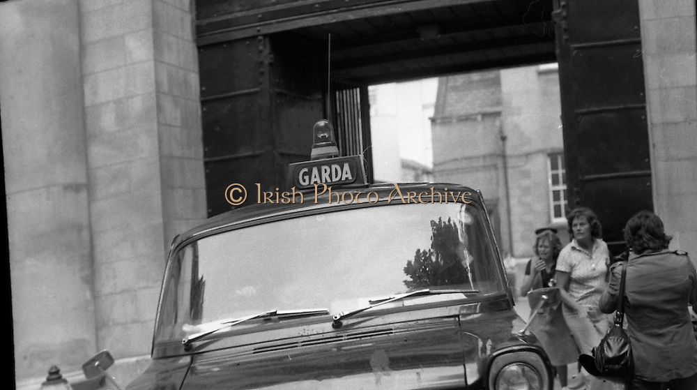 """Fergus Rowan sits in at Bank of Ireland.  (J70)..1975..22.08.1975..08.22.1975..22nd August 1975..As a result of the 1970 bank strike which lasted for six months, the Rowan family business found itself in financial difficulties. During the strike the Rowans had had to accept cheques in good faith in order to stay in business. When the cheques came for settlement the bank refused as they stated that some were 'dodgy'. This put severe strain on the business which was eventually put into receivership.As part of the process the Rowan business beside the bank was put up for sale and was purchased by B.o I. Rowan was outraged and started a campaign against the bank which culminated in a sit in at the banks headquarters in Westmoreland St,Dublin. He also became a thorn in the side of the bank at the A.G.Ms raising many points...""""Bully small business men"""" a new service added to the bank list by Mr Rowan."""