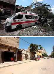07.07.2015, Gaza city, PSE, Nahostkonflikt zwischen Israel und Palästina, Vorher und Nachher, im Bild eine Combo von zwei Bildern das obere ist im Krieg des Sommers 2014 zwischen Palästina und Israel und aufgenommen worden, das untere am 07. Juli 2015 // A combination of pictures made on July 7, 2015 shows (top) Palestinians Palestinians walk past a destroyed ambulance following an Israeli air strike on July 20, 2014, in Gaza City, and the same place (bottom) on July 7, 2015, a year after the 50-day war between Israel and Hamas' militants, Palestine on 2015/07/07. EXPA Pictures © 2015, PhotoCredit: EXPA/ APAimages/ Ashraf Amra<br /> <br /> *****ATTENTION - for AUT, GER, SUI, ITA, POL, CRO, SRB only*****