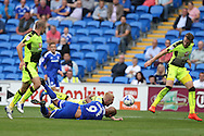 Frederic Gounongbe (9) is fouled in the box by Reading's Paul McShane (5) but no penalty is awarded.  EFL Skybet championship match, Cardiff city v Reading at the Cardiff city stadium in Cardiff, South Wales on Saturday 27th August 2016.<br /> pic by Andrew Orchard, Andrew Orchard sports photography.