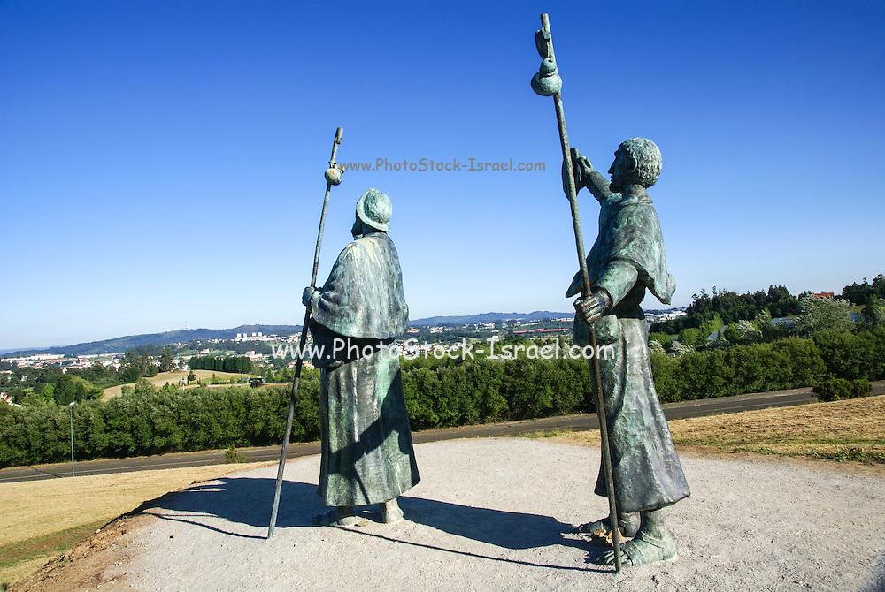 Bronze statue of Pilgrims on Monte do Gozo, or Hill of the Joy, last hill overlooking Santiago de Compostela, Galicia, Spain