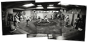 Bulgarian born  Kotooshuu, real name Kaloyan Stefanov Mahlyanov, who is the sport's top-ranked Western wrestler, and one of Sado Gatake's biggest earners..stands in far left of panorama watching..Morning  workout session in the Sado Gatake stable, 30 minutes west of Tokyo, .