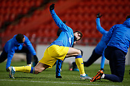 Ryan Longman of AFC Wimbledon warming up during the EFL Sky Bet League 1 match between Doncaster Rovers and AFC Wimbledon at the Keepmoat Stadium, Doncaster, England on 26 January 2021.