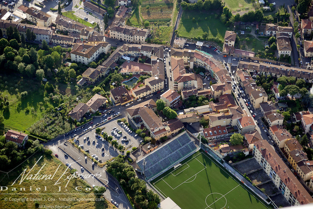 Aerials of the the outskirts of Florence, Italy