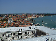 aerial view above the Doge's Palace, Venice. Built in Venetian Gothic style the palace was the residence of the Doge of Venice (the supreme authority of the rublic of Venice). It is now open as a museum.