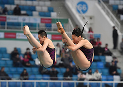 March 9, 2018 - Beijing, China - China's WANG HAN (R) and CHEN YIWEN compete during the Women's 3m Synchronised final at the FINA Diving World Series 2018 in Beijing, China. Wang Han/Chen Yiwen claimed the title with 336.12 points. (Credit Image: © Jia Yuchen/Xinhua via ZUMA Wire)