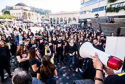 October 14, 2017 - Athens, Greece - Athenians march silently wearing black outfit and yellow ribbons on their mouth during the ''Walk for Freedom'', an anti-trafficking protest taking place globally. Protesters started the walk from Monastiraki area towards the Parliament and back. (Credit Image: © Kostas Pikoulas/Pacific Press via ZUMA Wire)