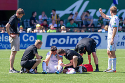 May 13, 2018 - Portland, OR, U.S. - PORTLAND, OR - MAY 13: Seattle Sounders defender Kim Kee-Hee has to be substituted after a head to head collision with Portland Timbers forward Fanendo Adi during the Portland Timbers 1-0 victory over the Seattle Sounders on May 13, 2018, at Providence Park in Portland, OR. (Photo by Diego Diaz/Icon Sportswire) (Credit Image: © Diego Diaz/Icon SMI via ZUMA Press)