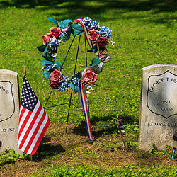 Columbia, PA - June 11, 2016: Graves of a Federal Soldiers that served in the United States Colored Troops (USCT) in Zion Hill Cemetery.