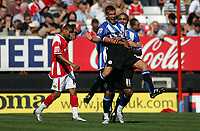 Photo: Lee Earle.<br /> Charlton Athletic v Sheffield Wednesday. Coca Cola Championship. 25/08/2007. Wednesday's Tommy Spurr is congratulated after scoring their second goal.