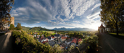 High angle view of village during sunrise, Neubeuern, Bavaria, Germany