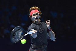 November 16, 2018 - London, United Kingdom - Alexander Zverev of Germany returns the ball during his round robin match against John Isner of the US during Day Six of the Nitto ATP Finals at The O2 Arena on November 16, 2018 in London, England. (Credit Image: © Alberto Pezzali/NurPhoto via ZUMA Press)