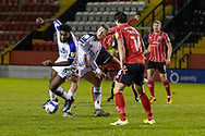 Shrewsbury Town Defender Ro-Shaun Williams wins \ defensive tackle during the EFL Sky Bet League 1 match between Lincoln City and Shrewsbury Town at Sincil Bank, Lincoln, United Kingdom on 15 December 2020.