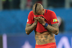 July 2, 2017 - Saint Petersburg, Russia - Arturo Vidal of the Chile national football team reacts during the 2017 FIFA Confederations Cup final match between Chile and Germany at Saint Petersburg Stadium on July 02, 2017 in St. Petersburg, Russia. (Credit Image: © Igor Russak/NurPhoto via ZUMA Press)