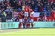 GOAL 1-2 Bristol City's Chris Martin (9) celebrates scoring his side's second goal during the EFL Sky Bet Championship match between Cardiff City and Bristol City at the Cardiff City Stadium, Cardiff, Wales on 28 August 2021.
