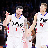 16 December 2015: Los Angeles Clippers guard J.J. Redick (4) celebrates during the Los Angeles Clippers 103-90 victory over the Milwaukee Bucks, at the Staples Center, Los Angeles, California, USA.