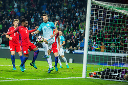 Bostjan Cesar of Slovenia and Joe Hart, Danny Rose with Eric Dier of England during football match between National teams of Slovenia and England in Round #3 of FIFA World Cup Russia 2018 qualifications in Group F, on October 11, 2016 in SRC Stozice, Ljubljana, Slovenia. Photo by Grega Valancic / Sportida