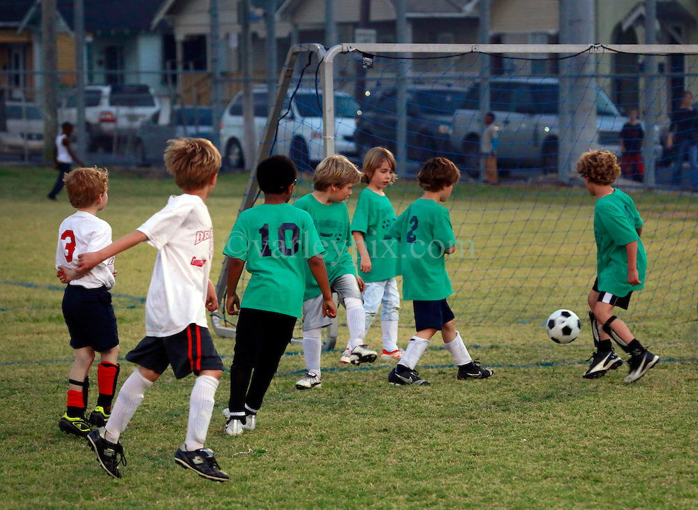 22 March 2013. New Orleans, Louisiana,  USA. .Carrolton Boosters Soccer. Under 8's. Dragons go up against the Green Ninjas..Photo; Charlie Varley.