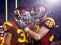 1 September 2007: Stanley Havili and Brad Walker celebrate a touchdown during USC Trojans college football team defeated the Idaho Vandals 38-10 at the Los Angeles Memorial Coliseum in CA.  NCAA Pac-10 #1 ranked team first game of the season.