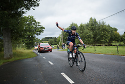Nina Kessler calls for the team car at the Crescent Vargarda - a 152 km road race, starting and finishing in Vargarda on August 13, 2017, in Vastra Gotaland, Sweden. (Photo by Sean Robinson/Velofocus.com)