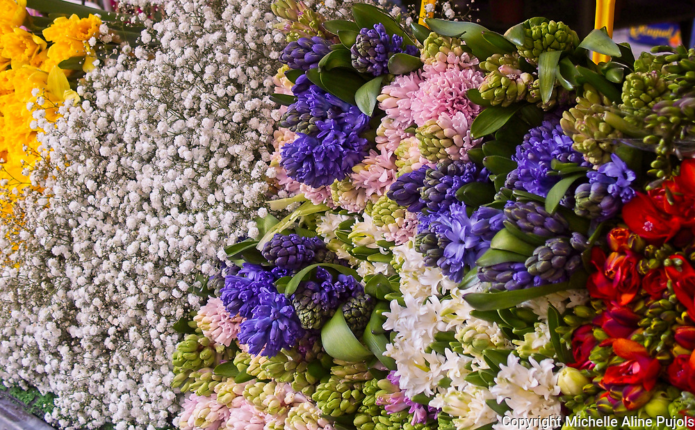 A group of flowers on display at the Paris Market