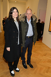 BELLA FREUD and her husband JAMES FOX at the opening private view of 'A Strong Sweet Smell of Incense - A portrait of Robert Fraser, held at the Pace Gallery, Burlington Gardens, London on 5th February 2015.