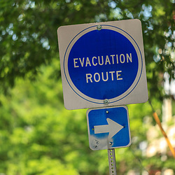 Newark, DE – June 24, 2013: An Evacuation Route sign in the downtown area of Newark.