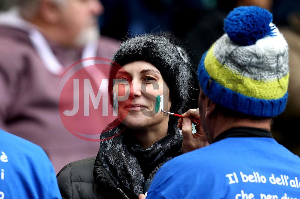 An Italy fan has their face painted - Mandatory by-line: Robbie Stephenson/JMP - 26/02/2017 - RUGBY - Twickenham Stadium - London, England - England v Italy - RBS 6 Nations round three