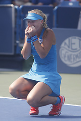 August 19, 2018 - Mason, Ohio - Kiki Bertens celebrates after defeating Simona Halep in the finals of the Western and Southern Open at the Lindner Family Tennis Center in Mason, Ohio on Sunday, August 19, 2018.  Bertens won the match 2-6, 7-6, 6-2.  The Cincinnati Masters is an annual outdoor hardcourt tennis event held in Mason near Cincinnati, Ohio. The event started on September 18, 1899 and is the oldest tennis tournament in the United States played in its original city. (Credit Image: © Leigh Taylor via ZUMA Wire)