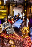 A Last Supper (Sagrada Cena) atop a cake, Confiteria La Campana, Seville, Andalusia, Spain.