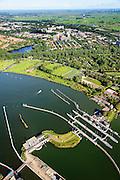 Nederland, Noord-Holland, Amsterdam, 27-09-2015; Schellingwoude, Oranjesluizen tussen Buiten-IJ en Het IJ. Zicht op Nieuwendam en landelijk Noord.<br /> Locks between Outer IJ  and The IJ, entrance to Amsterdam.<br /> <br /> luchtfoto (toeslag op standard tarieven);<br /> aerial photo (additional fee required);<br /> copyright foto/photo Siebe Swart