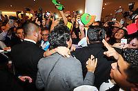 Sergio Perez (MEX) Sahara Force India F1 with fans.<br /> Sahara Force India F1 Team Livery Reveal, Soumaya Museum, Mexico City, Mexico. Wednesday 21st January 2015.