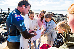 Joel Parkinson (AUS) advances directly to Round 3 of the 2018 Corona Open J-Bay after winning Heat 6 of Round 1 at Supertubes, Jeffreys Bay, South Africa.  Parkinson announced his retirement earlier in the day and will savour the event he won as a wildcard in 1999 when making his name on the Championship Tour.