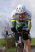 United Kingdom, Finchingfield, Mar 27, 2010:  Steve Freeman, Chelmer CC, approaches the 4 miles to go marker during the 2010 edition of the 'Jim Perrin' Memorial Hardriders 25.5 mile Sporting TT promoted by Chelmer Cycling Club. Copyright 2010 Peter Horrell.
