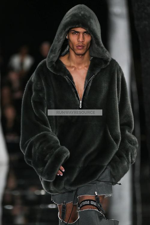 Geron McKinley walks the runway wearing PUMA x FENTY by Rihanna Fall 2016 during New York Fashion Week on February 12, 2016