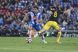 April 22, 2017 - Barcelona, Spain - Victor Sanchez and Saul Niguez during the match between RCD Espanyol vs Atletico Madrid, for the round 33 of the Liga Santander, played at RCD Espanyol Stadium on 22th April 2017 in Barcelona, Spain. (Credit Image: © Anna Trigueros/NurPhoto via ZUMA Press)
