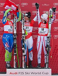 08.01.2012, Weltcupabfahrt Kaernten – Franz Klammer, Bad Kleinkirchheim, AUT, FIS Weltcup Ski Alpin, Damen, Super G, Podium, im Bild v.l.n.r. Tina Maze (SLO, Platz 2), Fabienne Suter (SUI, Platz 1), Anna Fenninger (AUT, Platz 3) // f.l.t.r. second place Tina Maze of Slovenia, first place Fabienne Suter of Switzerland and third place Anna Fenninger of Austria on podium during ladies Super G at FIS Ski Alpine World Cup at 'Kaernten – Franz Klammer' course in Bad Kleinkirchheim, Austria on 2012/01/08. EXPA Pictures © 2012, PhotoCredit: EXPA/ Johann Groder