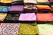 Embroidered design scarf, cashmere and silk scarves in Misir Carsisi Egyptian Bazaar food market in Istanbul, Turkey
