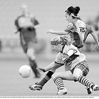 6 September 2008; Aine Kelly, Clare, in action against Adriena Melia, Longford. TG4 All-Ireland Ladies Intermediate Football Championship Semi-Final - Clare v Longford, O'Connor Park, Tullamore, Co. Offaly. Picture credit: Brendan Moran / SPORTSFILE