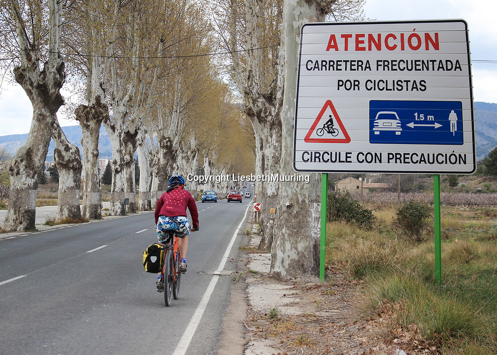 Traffic sign in Spain for the protection of the cyclist