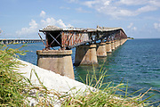 Old disused Seven Mile bridge connects the Keys to the mainland, Key West, Florida, USA