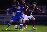 Conor Chaplin of Portsmouth (l)  battles with Matt Grimes of Northampton Town. EFL Skybet Football League one match, Northampton Town v Portsmouth at the Sixfields Stadium in Northampton on Tuesday 12th September 2017. <br /> pic by Bradley Collyer, Andrew Orchard sports photography.